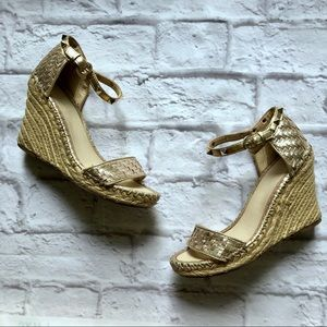 Marc Fisher gold basket weave metallic stud wedge